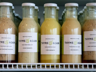 Thyme and Again's take-home products include everything from dinner and dessert to dressings, sauces and sandwiches.  Thyme and Again, which has expanded into the former Beer Store on Carling Avenue, had its grand opening Tuesday (May 8, 2018). Unlike the restaurant-style shop in Wellington Village, this second location is more geared to the catering end of the business and a grab-and-go clientele. Julie Oliver/Postmedia