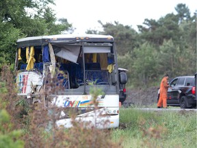 The bus involved in the crash on the 401 west of Prescott.