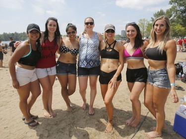 """A team of Ottawa Heart Institute nurses dubbed the """"Beta Blockers"""" take part in the Hope Volleyball SummerFest at Mooney's Bay on Saturday.   Patrick Doyle/Postmedia"""