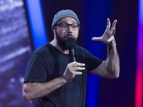 Dave Merheje performs during the Lilly Singh gala at the Just for Laughs festival in 2017. This year, Merheje will be among 32 standup comedians having specials taped by Netflix at the festival.