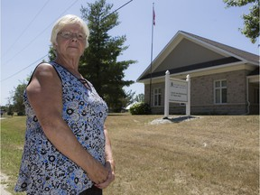 Coun. Judy Farrell stands outside the Tay Valley Township council and administration offices.