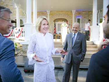 U.S. Ambassador Kelly Craft speaks with other ambassadors at the diplomatic reception.