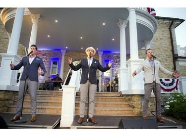 The Tenors sang the American national anthem, the Star-Spangled Banner, then proceeded to entertain the crowd with their musical talents.