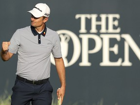 Justin Rose of England finishes the second round of the British Open Golf Championship in Carnoustie, Scotland, Friday July 20, 2018.