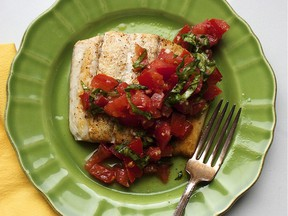 Pan seared fish with tomato basil relish. This dish is from a recipe by Katie Workman.