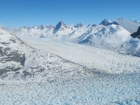 Helheim glacier in South East Greenland photographed during a NASA survey flight in April 2013.