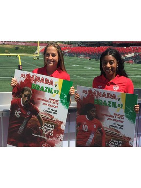 Canadian national women's team soccer players Janine Beckie (left) and Ashley Lawrence were in Ottawa Monday to promote an international friendly against Brazil Sept. 2 at TD Place.