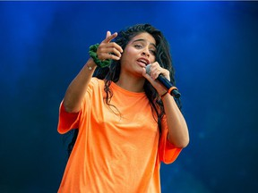 Performance photo of Jessie Reyez at Bluesfest.