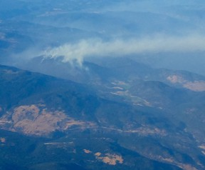 An aerial view of the fire near Peachland.