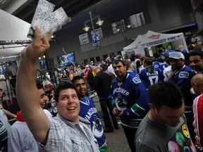 Lots of scalpers and big money outside Rogers Arena at the first game of the Stanley Cup final in Vancouver, B.C., on June 1, 2011.