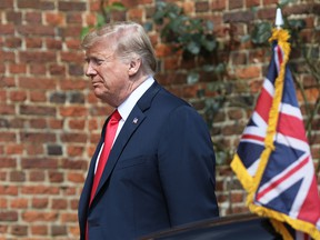 U.S. President Donald Trump arrives for his bilateral meeting with Theresa May, U.K. prime minister, at Chequers in Aylesbury, U.K., on Friday, July 13, 2018.