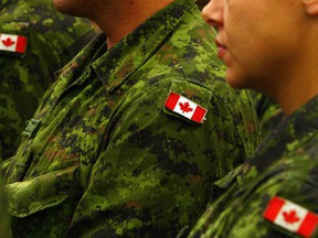 FILE: Canadian flag shoulder patches on  uniforms.