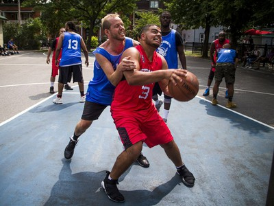 Brennan Stroud defends against Haidar el Badry with the ball at the Hoopstar Classic at St. Luke's Park near Elgin Street and Gladstone Avenue on Saturday.