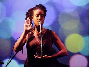 Tanya Evanson performing in Montreal.