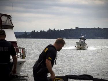 The OPP were on the St. Lawrence near Rockport Sunday September 2, 2018, searching for an 11-year-old Ottawa boy after a boat capsized Saturday afternoon.
