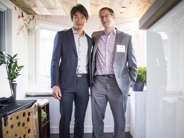 Seungyeon Hong, Master of Applied Science, first-year project manager with the Tiny House Team, and assistant professor Scott Bucking of the Civil Engineering and Architecture program and the project supervisor of the Tiny House Team in the tiny home Saturday.