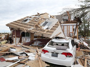 Brian and Nicole Lowden's home that they rent was demolished by a tornado that ripped through Dunrobin   Photo by Jean Levac/Postmedia   130048