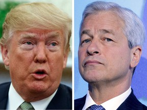 U.S. President Donald Trump, left, and JPMorgan Chase CEO Jamie Dimon have been trading insults this week.
