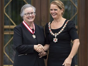 Governor General Julie Payette invests Anne Martin-Matthews, from Vancouver, B.C. as an Officer of the Order of Canada during a ceremony outside Rideau Hall in Ottawa, Thursday, September 6, 2018.