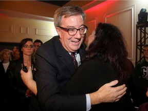 Jim Watson showed up to a throng of supporters at the RA Centre after winning again as Ottawa's mayor Monday night.