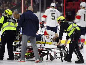 Florida Panthers centre Vincent Trocheck (21) is taken off the ice on a stretcher while taking on the Ottawa Senators during first period NHL hockey action in Ottawa on Monday, Nov. 19, 2018.