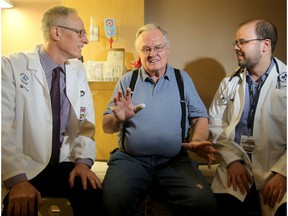 Cancer patient Harold Black, centre, developed a blog clot in late August in his lung that was luckily caught by his doctors. The Ottawa Hospital's chief of medicine, Dr. Phil Wells, left, and Dr. Marc Carrier, a hematologist and senior scientist, have led a Canada-wide clinical trial on the subject and have developed a preventative treatment.