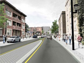 Schematic of traffic calming along Elgin Street - that island in the middle would narrow the road for drivers.