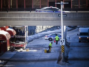 Ottawa police have the area around the Westboro transit station cordoned off on Saturday.