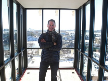Zibi president Jeff Westeinde stands in the observation deck atop a seven-storey tower that gives a bird's eye view of the whole site.