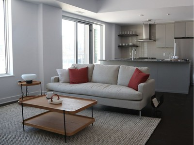The model suite at O, the first condo building to be built at Zibi, is the two-bedroom, two-bath Current, an open-concept unit with 1,131 sq. ft.