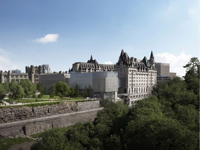 Rendering for the new addition. The west pavilion faces Parliament Hill.