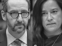 A composite image of Gerald Butts and Jody Wilson-Raybould at their testimonies.