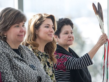 Sophie Grégoire Trudeau (C) along with Claudette Commanda (R) and Anita Vandenbeld (L) on stage as the Institute for Canadian Citizenship, together with Immigration, Refugees and Citizenship Canada, and the National Gallery of Canada, held a special community citizenship ceremony in the Great Hall at the National Gallery of Canada.