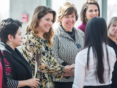 Sophie Grégoire Trudeau (C) along with Claudette Commanda (L) and Anita Vandenbeld greet new Canadians  as the Institute for Canadian Citizenship, together with Immigration, Refugees and Citizenship Canada, and the National Gallery of Canada, held a special community citizenship ceremony in the Great Hall at the National Gallery of Canada.