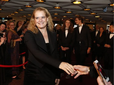 Governor General Julie Payette arrives on the red carpet at the Governor General's Performing Arts Awards at the National Arts Centre in Ottawa on Saturday, April 26, 2019.