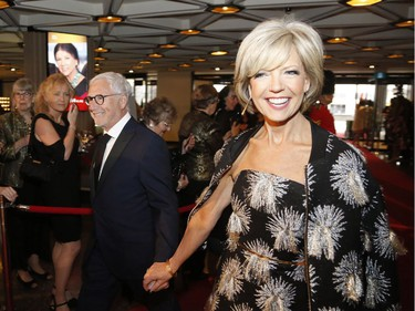 Master of ceremonies Heather Hiscox, CBC News Network, and her husband Dr. Martin Goldbach arrive on the red carpet at the Governor General's Performing Arts Awards at the National Arts Centre in Ottawa on Saturday, April 26, 2019.