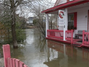 Homes and streets of Saint-André-Avellin are flooded by the the Petite-Nation River on Wednesday.
