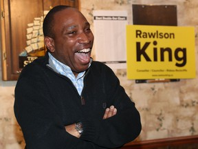 Rawlson King, winner of the By-election in Rideau-Rockcliffe, celebrates his in Ottawa Monday April 15, 2019.