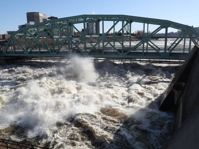 Chaudiere Bridge in Ottawa Monday April 29, 2019. Flood waters have reached the bridge and now is causing damage. The bridge is closed.
