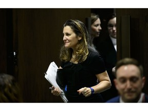 Foreign Affairs Minister Chrystia Freeland appears as a witness at a Senate Committee on Foreign Affairs and International Trade at the Senate of Canada Building in Ottawa on Tuesday, April 9, 2019. Canada has added 43 additional people to its list of sanctions against those it says are cronies of Venezuelan President Nicolas Maduro.