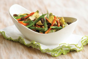 This recipe for vegetable sauté with California raisins includes a bounty of tasty vegetables.