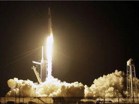 A SpaceX Falcon 9 rocket with a demo Crew Dragon spacecraft lifts off from pad 39A on an uncrewed test flight to the International Space Station at the Kennedy Space Center in Cape Canaveral, Fla., Saturday, March 2, 2019.