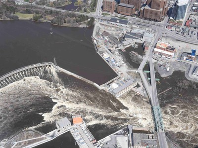 Chaudiere Falls - Aerial view of the flooding in the National Capital region, April 29, 2019.