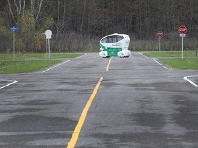 One of several automated vehicles at the Ottawa L5 private CAV test track on Friday May 17, 2019.