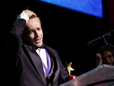 The winner for Comic Male Actor in a Play: Bryce Batten, St. Francis Xavier High School, The Wizard of Oz, accepts their award, during the annual Cappies Gala awards, held at the National Arts Centre, on June 09, 2019, in Ottawa, Ont.