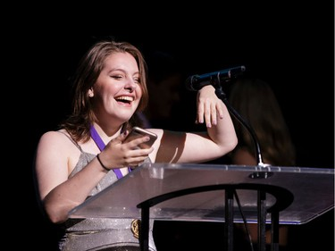 The winner for Make-up: Juliana Brazeau, Immaculata High School, Little Shop of Horrors Horrors, accepts their award, during the annual Cappies Gala awards, held at the National Arts Centre, on June 09, 2019, in Ottawa, Ont.
