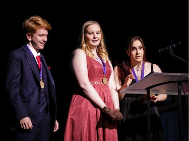 The winners for Props (L-R): Thomas Aubin, Nicole Bennett, Allison Cook, Immaculata High School, Little Shop of Horrors Horrors, accept their award, during the annual Cappies Gala awards, held at the National Arts Centre, on June 09, 2019, in Ottawa, Ont.