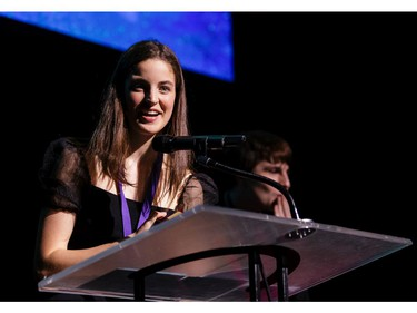 The winner for Supporting Female Actor in a Play: Alexa Bothwell, Elmwood School, The Light Burns Blue, accepts her award, during the annual Cappies Gala awards, held at the National Arts Centre, on June 09, 2019, in Ottawa, Ont.