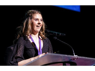 The winner for Lead Female Actor in a Play: Alex Byrne, Elmwood School, The Light Burns Blue, accepts her award, during the annual Cappies Gala awards, held at the National Arts Centre, on June 09, 2019, in Ottawa, Ont.
