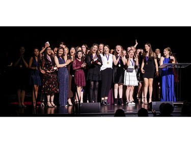 The winner for Critics' Favourite Play: The Light Burns Blue, Elmwood School, accept the award, during the annual Cappies Gala awards, held at the National Arts Centre, on June 09, 2019, in Ottawa, Ont.